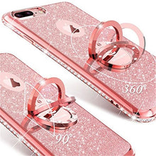 Load image into Gallery viewer, glitter cute phone case for apple iphone 12 12pro 11 11pro max 8 6 6s 6 6s 7 iphone x with kickstand bling diamond sparkly rhinestone shockproof tpu bumper ring stand case
