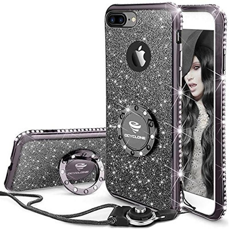 glitter cute phone case for apple iphone 12 12pro 11 11pro max 8 6 6s 6 6s 7 iphone x with kickstand bling diamond sparkly rhinestone shockproof tpu bumper ring stand case
