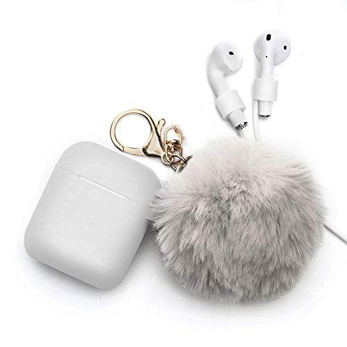 Airpods 1 2nd Generation Protective Cover Apple Bluetooth Headset Hair Ball Keychain Set Silicone Case Cute