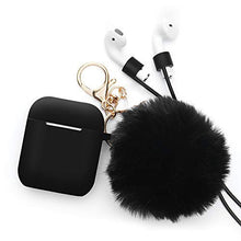 Load image into Gallery viewer, Airpods 1 2nd Generation Protective Cover Apple Bluetooth Headset Hair Ball Keychain Set Silicone Case Cute