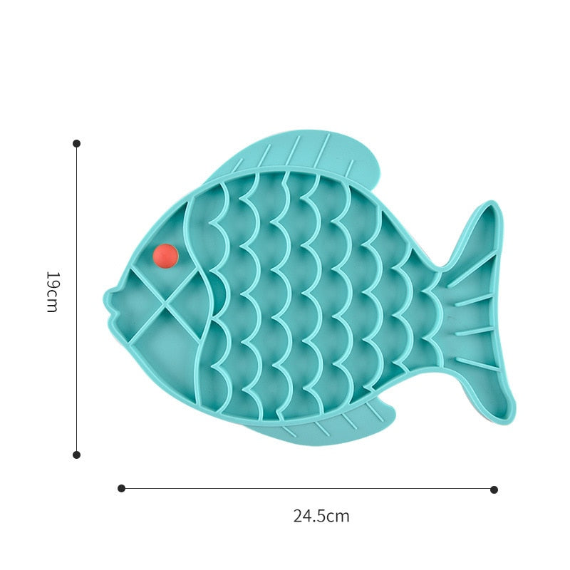 Fish Shape Silicone Bowl Dog Lick Mat Slow Feeding Food Bowl For Small Medium Dogs Puppy Cat Treat Feeder Dispenser Pet Supplies