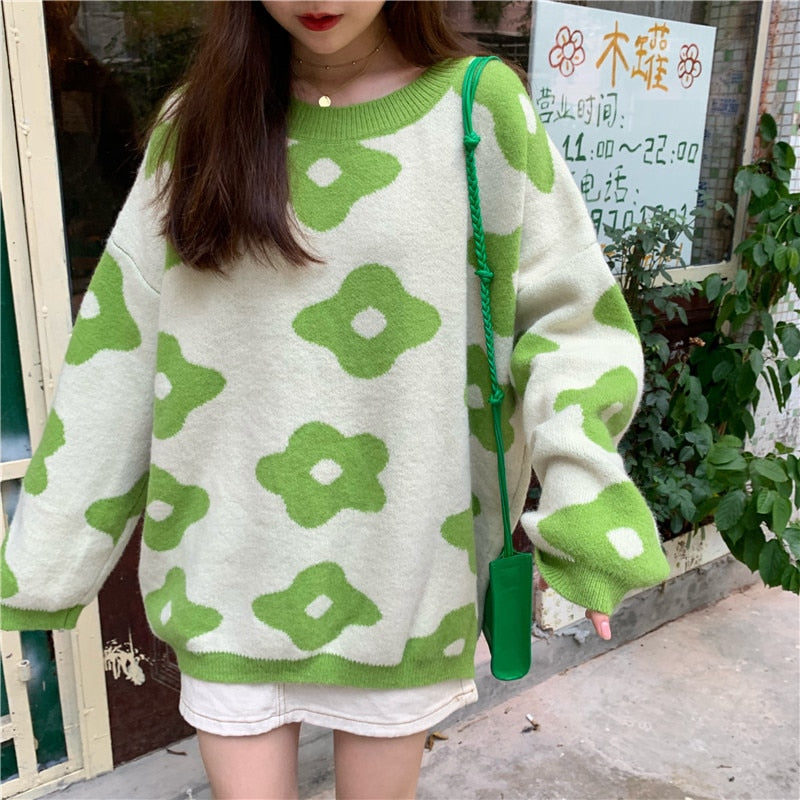 Women fashion Sweaters Winter Women Flower Sweaters