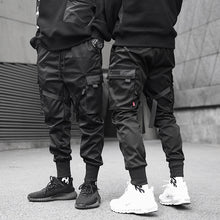 Load image into Gallery viewer, Men Ribbons Color Block Black Pocket Cargo Pants Harem Joggers Harajuku Sweatpant Hip Hop Trousers