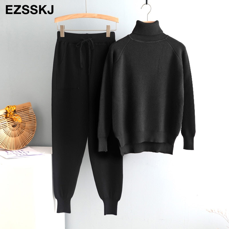 2020 2 Pieces Set Women Knitted Tracksuit Turtleneck Sweater + Carrot Jogging Pants Pullover Sweater Set CHIC Knitted Outwear
