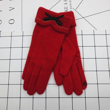 Load image into Gallery viewer, YLWHJJ Fashion Female Wool Touch Screen Gloves Winter Women Warm Cashmere Full Finger Leather Bow Dotted embroidery Gloves