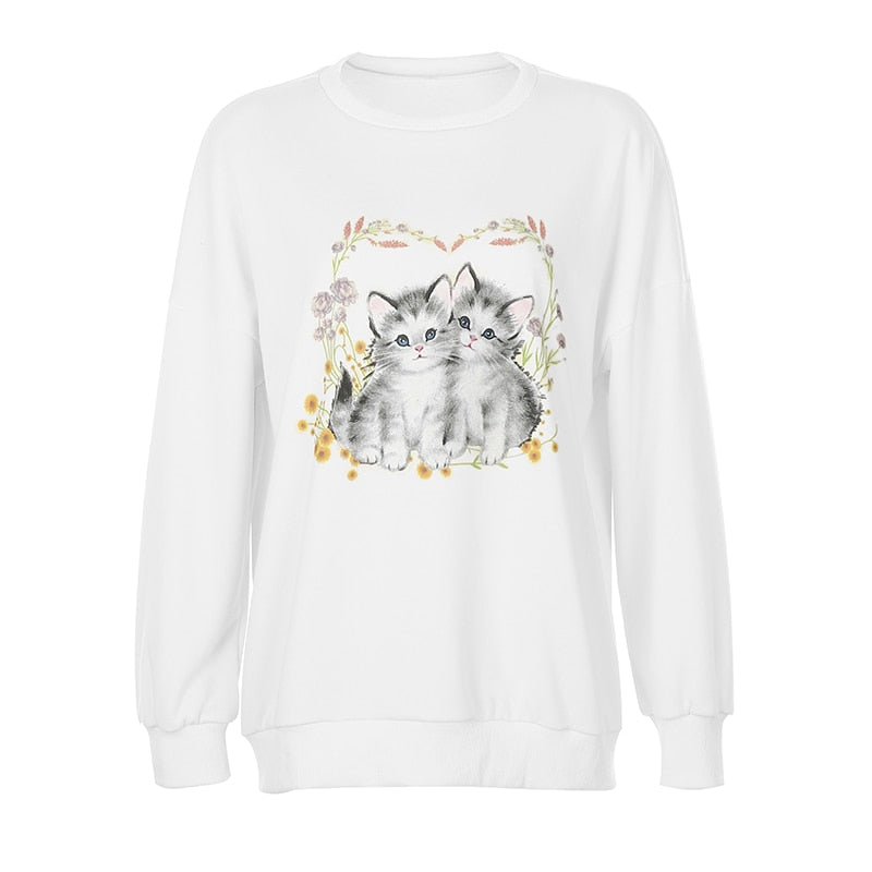 HEYounGIRL Cat Print Cute White Oversized Sweatshirt Autumn Cute Long Sleeve Sweat Shirt Casual Loose Pullover Ladies Streetwear