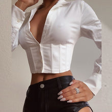 Load image into Gallery viewer, VIBESOOTD Lace Up White Sexy V-Neck Women Tops and Blouses Long Sleeve Fashion Crop Tops Shirts Ladies Blouses Streetwear