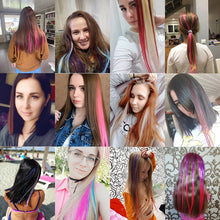 Load image into Gallery viewer, CHARMING Long Straight color Hair 20 inch Piece Hair Extensions Clip Rainbow Hair Streak Pink Synthetic Hair Strands on Clips