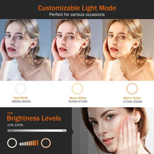 Load image into Gallery viewer, 10in LED Selfie Ring Light Photography RingLight Phone Stand Holder Tripod Tiktok Circle Fill Light Dimmable Lamp Trepied Makeup