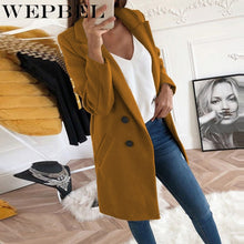 Load image into Gallery viewer, WEPBEL Autumn and Winter New Woolen Women Solid Color Long Coat Long Double-breasted Women Turn-down Collar Slim Jacket