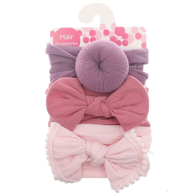 New 3pcs/lot Fashion Baby Nylon Bow Headband Newborn Bowknot Round Ball Headwrap Flower Turban Girls Kids Hair Bands Gift Sets