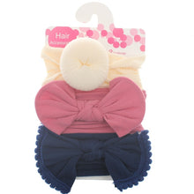 Load image into Gallery viewer, New 3pcs/lot Fashion Baby Nylon Bow Headband Newborn Bowknot Round Ball Headwrap Flower Turban Girls Kids Hair Bands Gift Sets