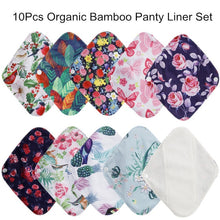 Load image into Gallery viewer, [simfamily] 10Pcs Reusable Pads Bamboo Charcoal Pads Sanitary Pads Washable Panty Liner Mama Maternity Menstrual Cotton Dads