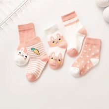 Load image into Gallery viewer, 5 Pair/Lot Kids Soft Cotton Socks Boy Girl Baby Cute Cartoon Warm Stripe Fashion Sport For Spring Summer Autumn Winter Children
