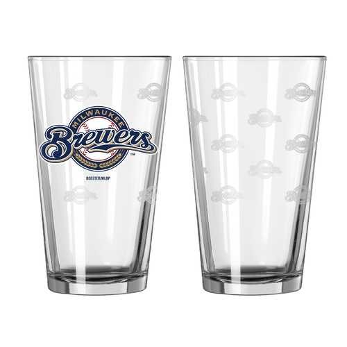 Milwaukee Brewers Glass Pint Satin Etch 2 Piece Set Special Order