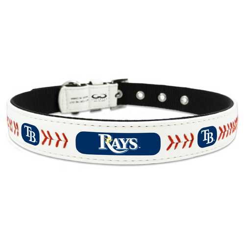 Tampa Bay Rays Pet Collar Classic Baseball Leather Size Small