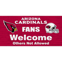 "Load image into Gallery viewer, Arizona Cardinals Wood Sign - Fans Welcome 12""x6"""