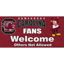 "Load image into Gallery viewer, South Carolina Gamecocks Wood Sign - Fans Welcome 12""x6"""