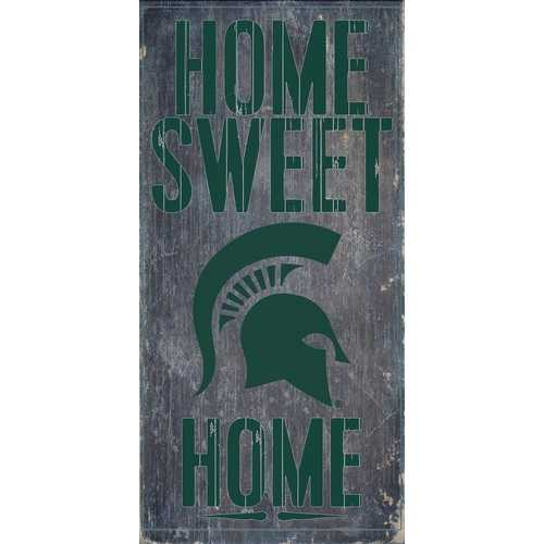"Michigan State Spartans Wood Sign - Home Sweet Home 6""x12"""