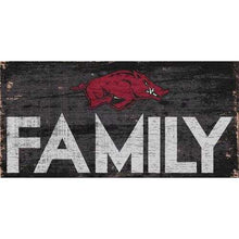 Load image into Gallery viewer, Arkansas Razorbacks Sign Wood 12x6 Family Design Special Order