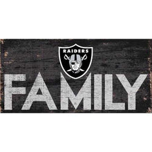 Load image into Gallery viewer, Oakland Raiders Sign Wood 12x6 Family Design Special Order