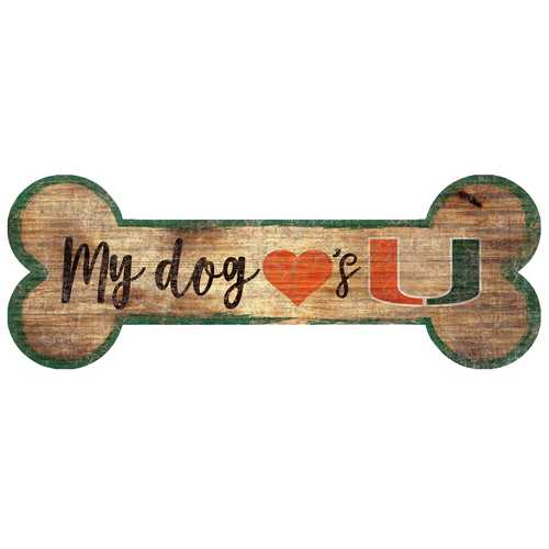Miami Hurricanes Sign Wood 6x12 Dog Bone Shape Special Order