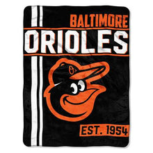 Load image into Gallery viewer, Baltimore Orioles Blanket 46x60 Micro Raschel Walk Off Design Rolled Special Order