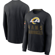Load image into Gallery viewer, Los Angeles Rams 2020 Salute to Service Sideline Performance Long Sleeve T-Shirt