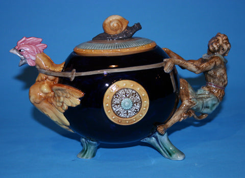 Majolica Cockerel & Monkey teapot
