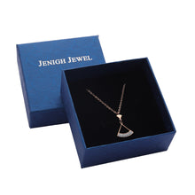 将图片加载到图库查看器,JENIGH JEWEL Necklace 18K Gold Plated Stainless Steel Fan-Shaped Pendant Necklace Gift Jewelry for Women