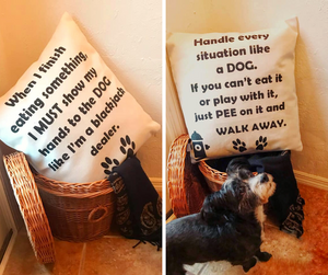 Dog Pillow Cover - Blackjack dealer/Handle every situation like a DOG