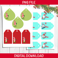 two sheets of gnome gift tags