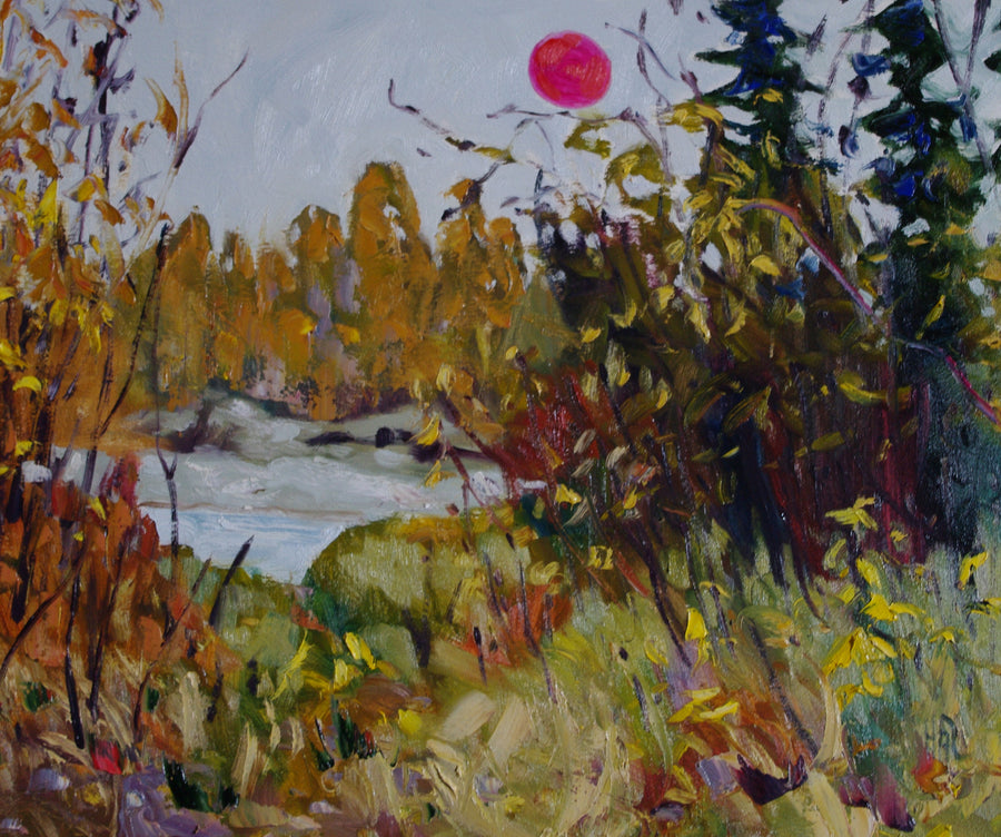 landscape painting by Halin de Repentigny, painted in late summer 2020 when the sun was on fire. Painted in just outside of Dawson City, Yukon