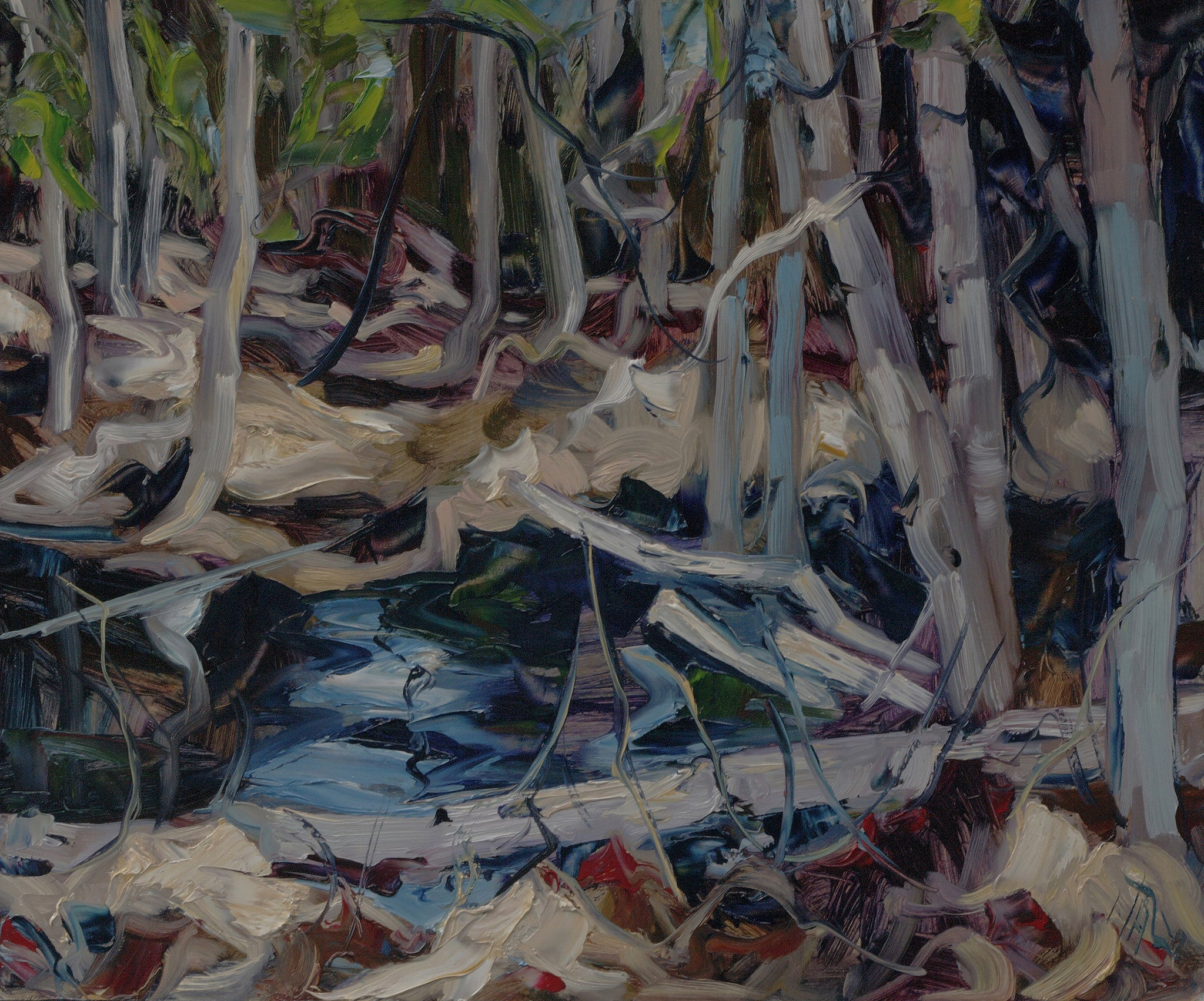 Birch In Pond - SOLD - Halin de Repentigny - painting