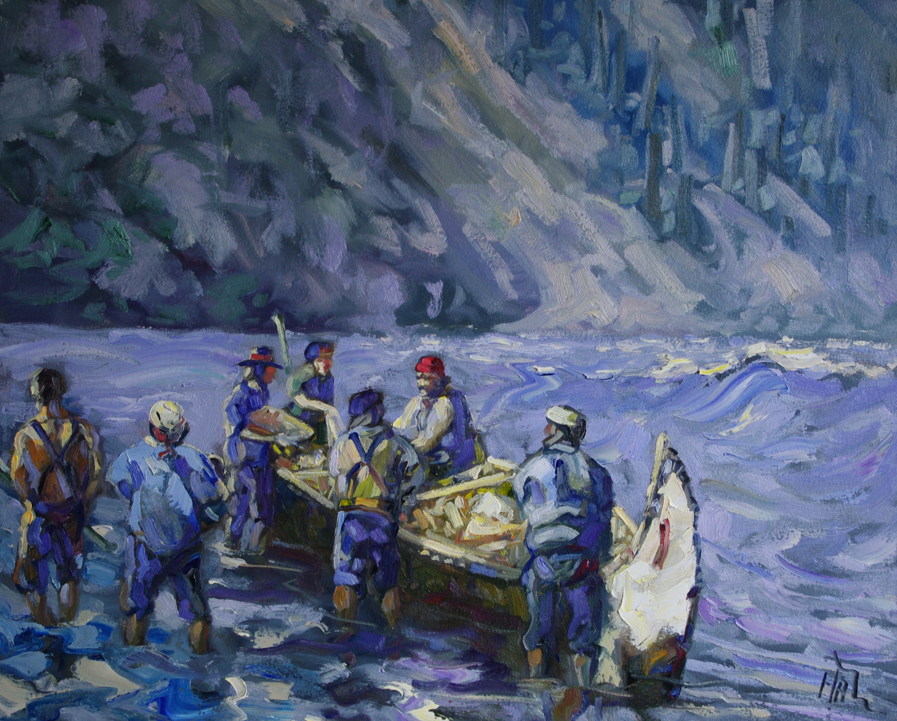 Embarking at Hoole Canyon - Halin de Repentigny - painting
