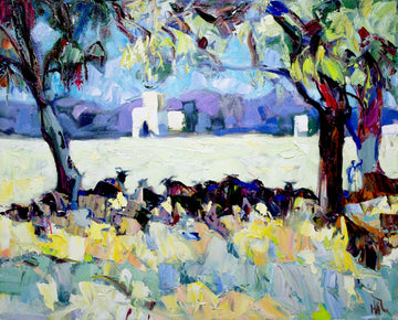Goats in the Shade - Halin de Repentigny - painting