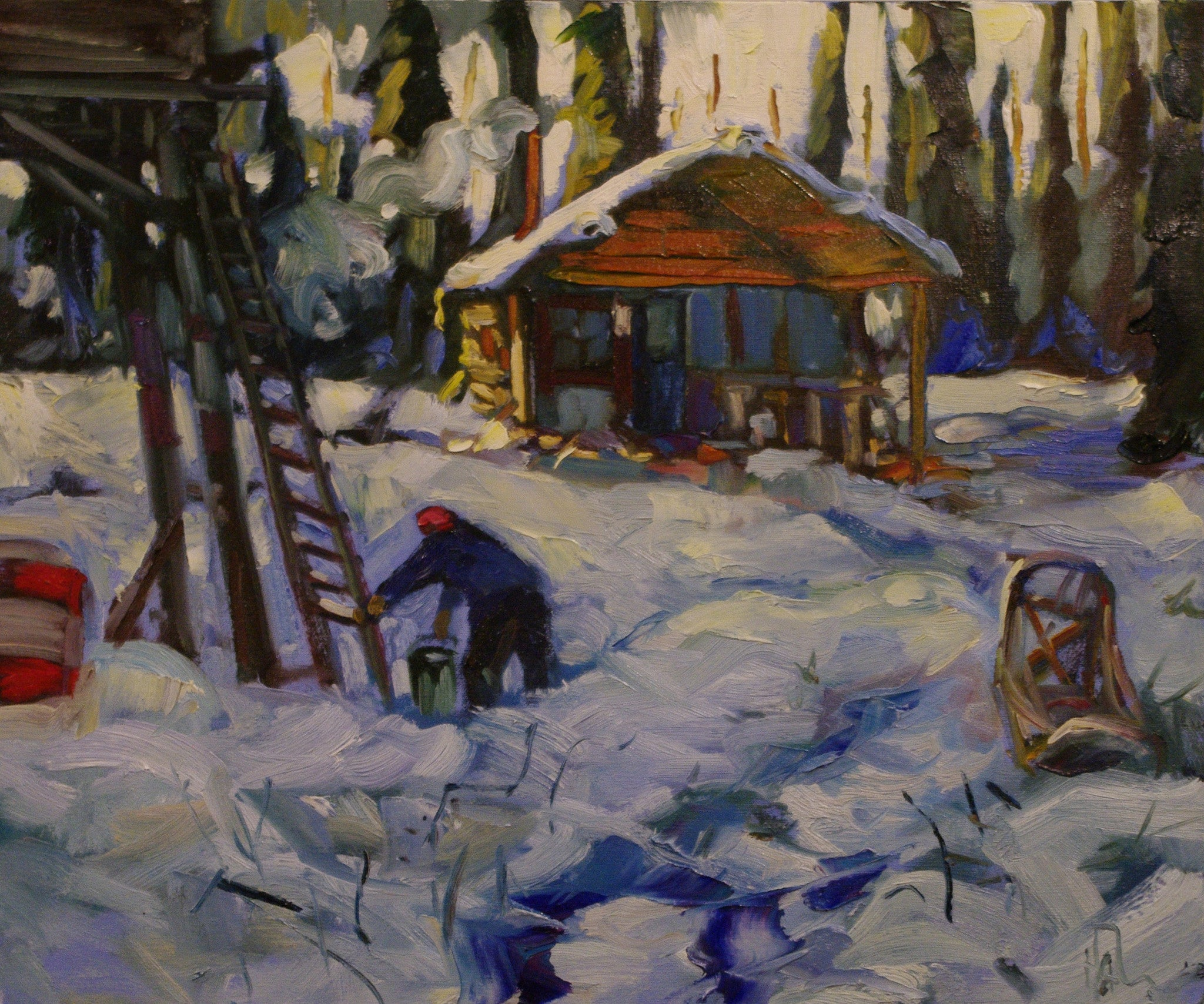 Hot Spring Cabin - SOLD - Halin de Repentigny - painting