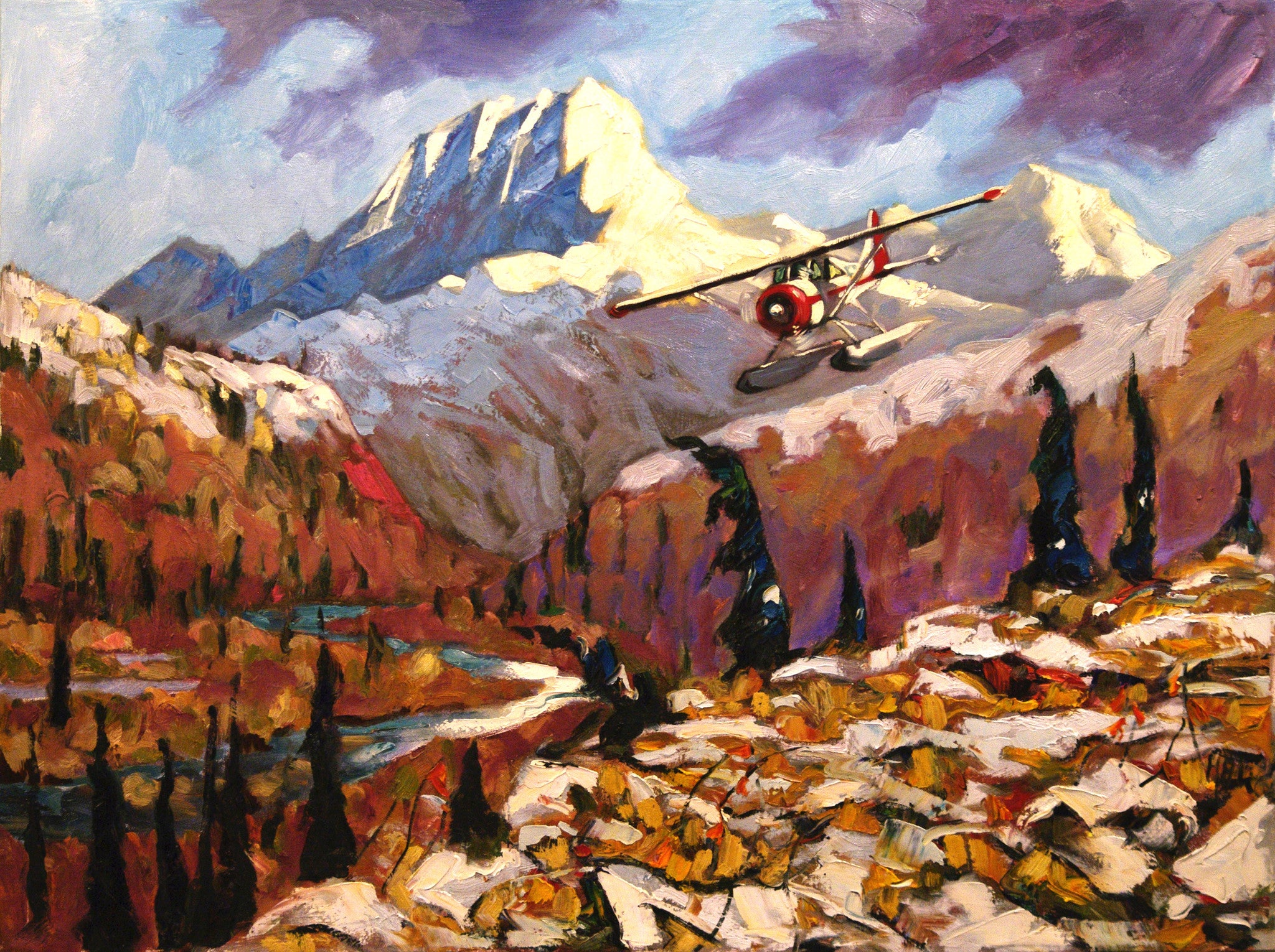 Getting In Wind River SOLD - Halin de Repentigny - painting