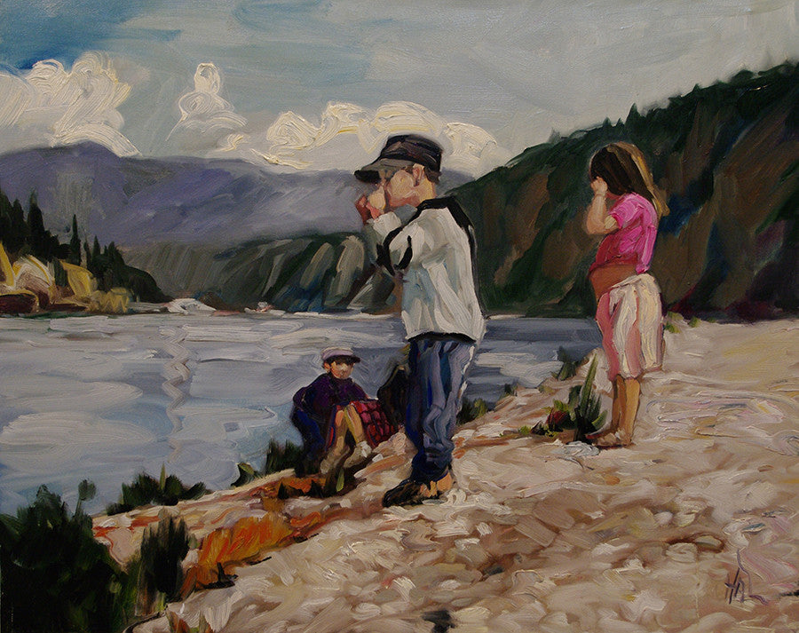 Kids On The Dike - Halin de Repentigny - painting
