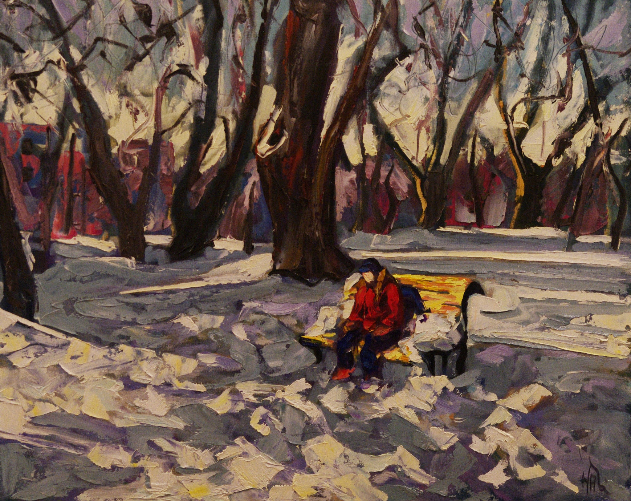 Loner On A Park Bench - Halin de Repentigny - painting