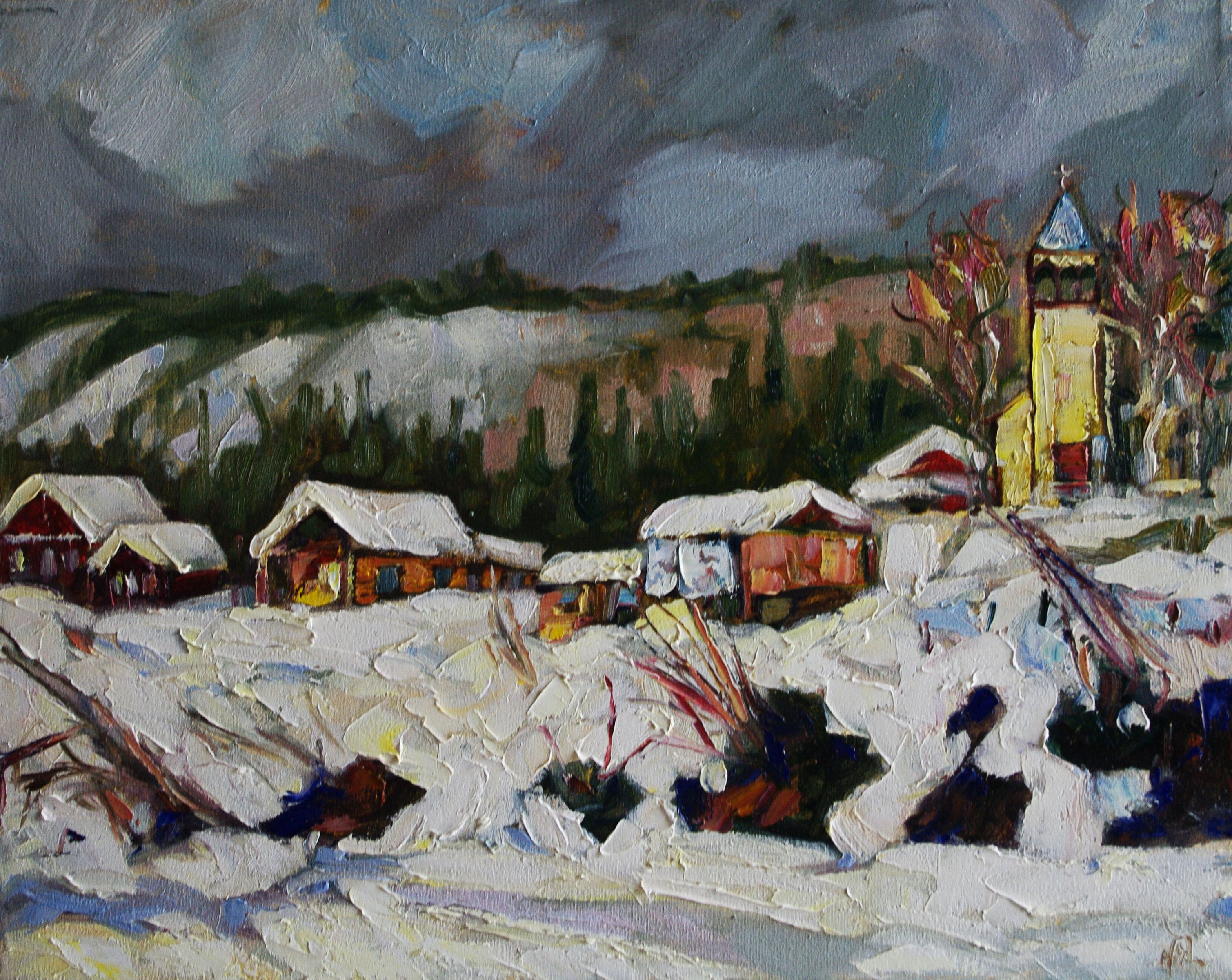 Moosehide From The River - Halin de Repentigny - painting