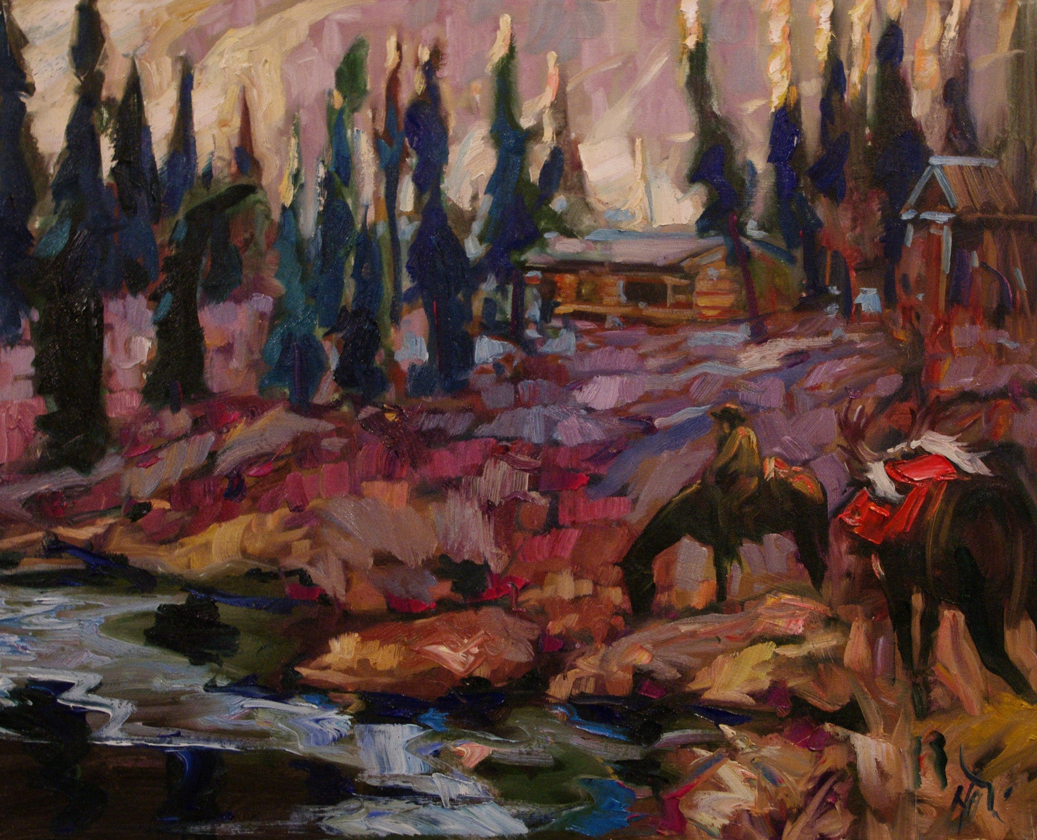 Ray Creek Main Camp SOLD - Halin de Repentigny - painting