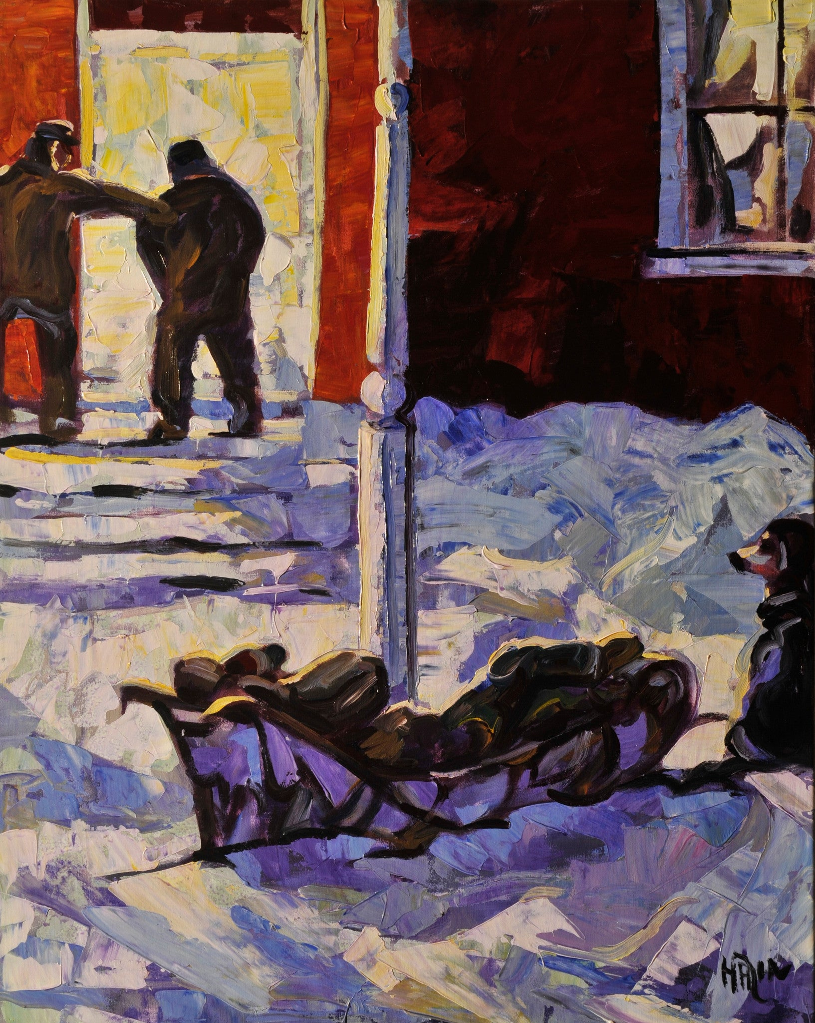 Dog Sled SOLD - Halin de Repentigny - painting