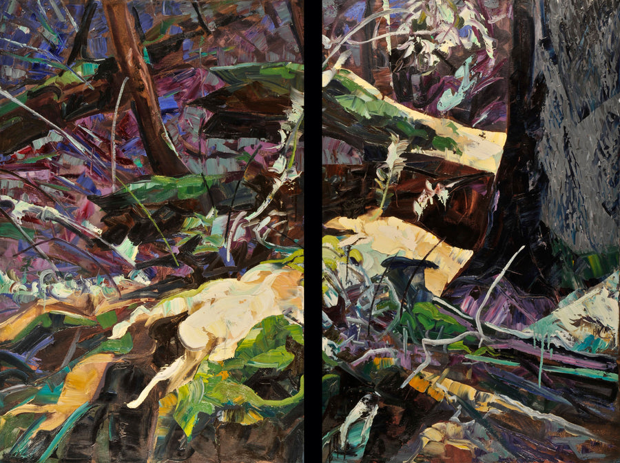 Dripping Maniu Over Purple Carpet (Diptych) SOLD - Halin de Repentigny - painting