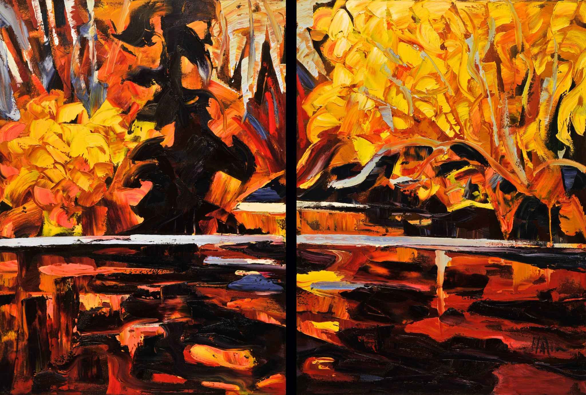 Fall Finger (Diptych) - Halin de Repentigny - painting
