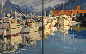 Van Boats Reflection (Diptych) SOLD - Halin de Repentigny - painting