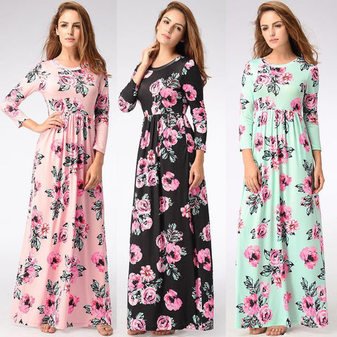 Women Floral Print Long Sleeve Boho Dress Ladies Evening Party Long Maxi Dress - Toplen