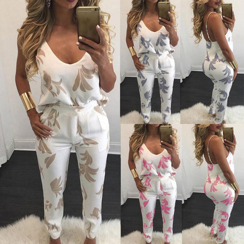 Womens 2 Pcs Sets V Neck Jumpsuit Top Pencil Trousers Printed Romper - Toplen