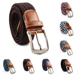 Unisex Men Women Elastic Stretch Woven Canvas Leather Pin Buckle Waist Belt - Toplen