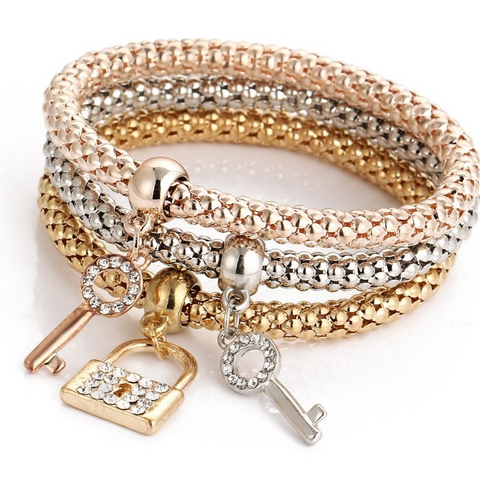 Ladies 3 set Rose Gold silver Gold lock key bracelet bangle jewellery Gift - Toplen